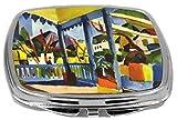 Rikki Knight Compact Mirror, August Macke Art Terrace of The Villa in St Germain, 3 Ounce