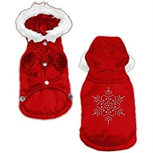 Dog Supplies Snowflake Rhinestone Coat Red M (12)