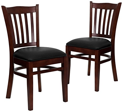 Flash Furniture 2-XU-DGW0008VRT-MAH-BLKV-GG Hercules Series Mahogany Finished Wooden Restaurant Chair (2 Pack) (Wooden Restaurant Chair compare prices)