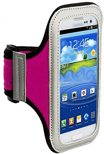 Mylife (Tm) Hot Pink + Black + White Velcro Strap (Light Weight Flexible Neoprene + Secure Running Armband) For Samsung Galaxy S3 And S4 Touch Phone (Designed For All Galaxy S3 And S4 Models From All Carriers + Universal One Size Fits All + Velcro Secured