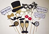 18PCS 2017 New Year's Eve Party Card Masks Photo Booth Props Mustache On A Stick Dold Dust By 7-gost