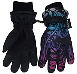 N\'Ice Caps Little And Big Girls Ombre Shaded Scroll Print Ski Gloves (5-6yrs, black/silver neon/neon blue/neon purple/neon pink)