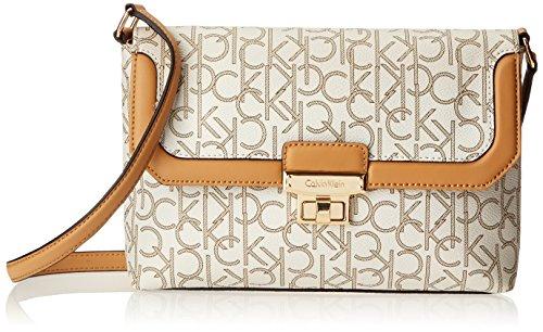Calvin Klein Monogram Turn Key Cross Body Bag,Almond/Khaki/Camel,One Size