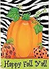 Happy Fall Y All Pumpkin Polka Dot Zebra Stripes Garden