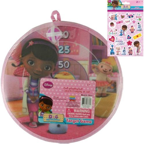 Disney Jr. Doc McStuffins Velcro Dart Board Target Game Gift Set for Girls or Kids - 1 11 in Doc McStuffins Velrco Dart Game with Self Gripping Ball Plus 1 Pack Doc McStuffins and Friends Stickers (2 Sheets) - 1