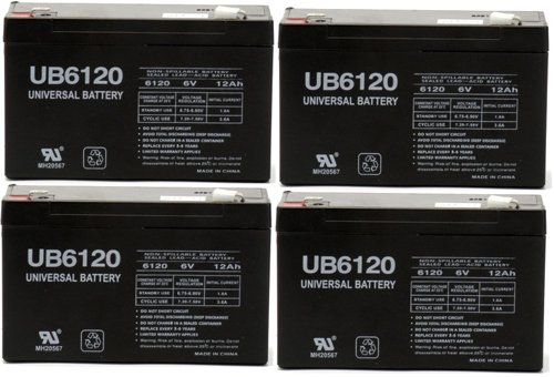6 Volt 12 Ah Ups Battery Replaces Rhino Sla10-6 T25, Sla 10-6 T25 - 4 Pack