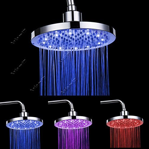 8 inch Chrome Finish LED Temperature Controlled Rainfall Shower Sprayer LED Rain Shower Head