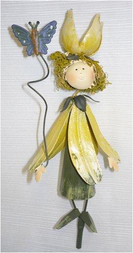 Yellow Dress & Hat Garden Fairy Gift Stake