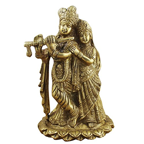 Beautiful Brass Sculpture - Radha Krishna Statue - Symbol of Love Wedding Gift - 6.3