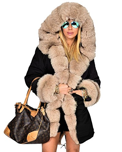 Roiii Women's Warm Winter Coat Thicken Hoodies Jacket Parka Overcoat Outerwear (M, Black)
