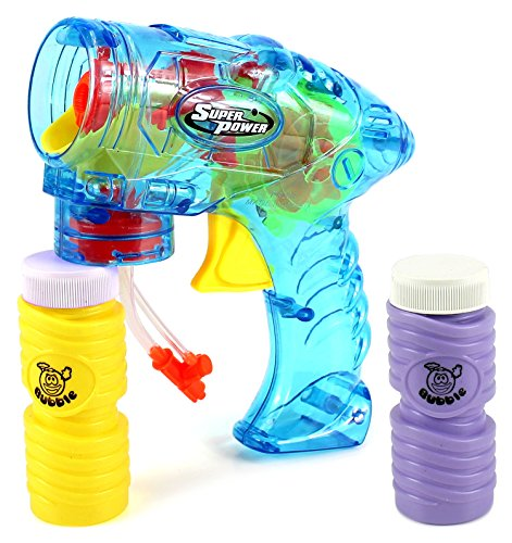 Super Power Toy Bubble Blowing Gun w/ 2 Bottles of Bubble Liquid, Flashing Lights, No Batteries Required (Colors May Vary) - 1