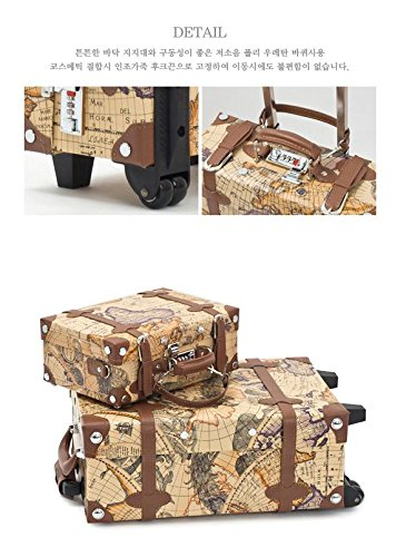 EDDAS ETHOS PVC Vintage & Retro Style Carry-On Luggage and Cosmetic Tote Bag Set with 3 Dial Lock (Product of Korea) 2