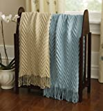 Ribbed Throw With Fringe Accents Beige by Collections Etc