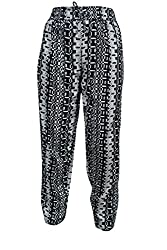 Indiatrendzs Women Pajama Printed Black Yoga Pant Rayon Evening Wear Harem Pants