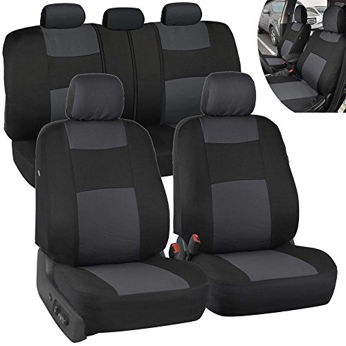 PolyCloth Black/Charcoal Gray Car Seat Covers