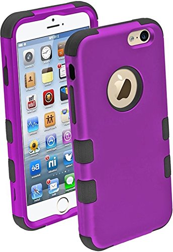 Images for myLife Grape Purple and Black {Bright Dual-color Design} Neo Hybrid Armor Case for the NEW iPhone 6 (6G) 6th Generation Phone by Apple, 4.7