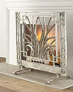 stylized nickel fireplace screen silver