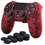 YoRHa Water Transfer Printing Flowers Silicone Cover Skin Case for Sony PS4/slim/Pro controller x 1(red) With Pro thumb grips x 8 (Color: leaves red, Tamaño: water print)