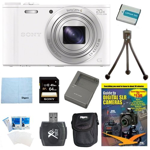 Sony WX350 DSC-WX350 DSCWX350W DSC-WX350/W 18 MP Digital Camera (White) 64GB Kit Includes Camera, 64GB memory card, DVD, battery pack, Rapid AC/DC Charger carrying case, card reader, mini tripood, screen protectors and micro fiber cloth Special Offers