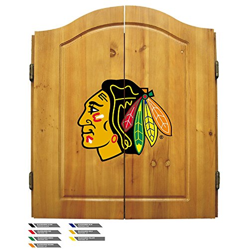Nhl Chicago Blackhawks Team Dartboard Cabinet Set