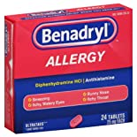 Benadryl Allergy, 25 mg, Ultratab Tablets, 24 ct.