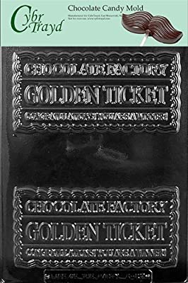 Cybrtrayd K137 Golden Ticket Chocolate Candy Mold with Exclusive Cybrtrayd Copyrighted Chocolate Molding Instructions