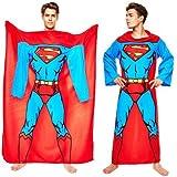 DC Comics Superman Muscle Print Adult Lounger Fleece Sleeve Blanket (One Size)