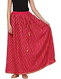 Saadgi Rajasthani Hand Block Printed Handcrafted Ethnic Lehnga Skirt For Women/Girls - B06XGGBNS8