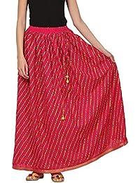 Saadgi Rajasthani Hand Block Printed Handcrafted Ethnic Lehnga Skirt For Women/Girls - B06XGKJZ7L