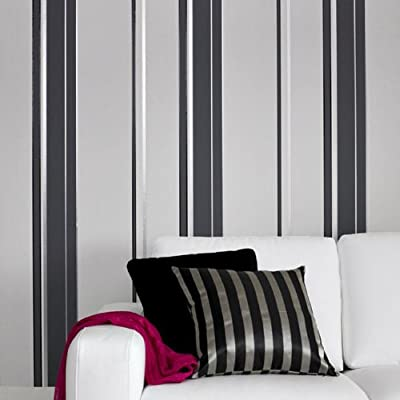 Sequence' Stripe wallpaper in Charcoal, Grey and Silver (Full Roll) by wallpaper heaven