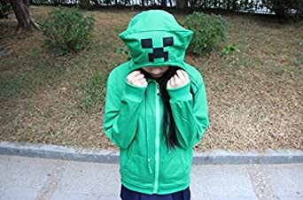 Minecraft Style [ Hoodie Costume Green ] Game Clothing Cosplay Pullover