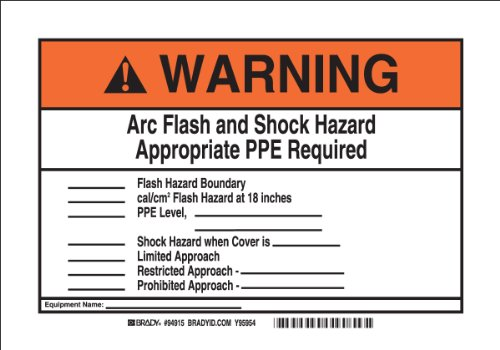 "Brady 94915 Self Sticking Polyester, 7"" X 10"" Warning Sign Legend ""Arc Flash And Shock Hazard Appropriate Ppe Required?"""