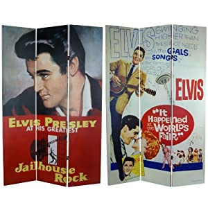 Oriental Furniture 6-Feet Tall Double Sided Elvis Presley Jailhouse Rock Canvas Room Divider