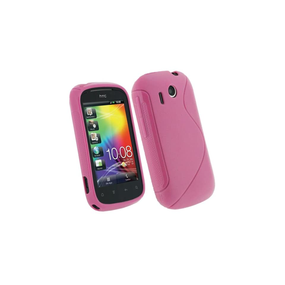 igadgitz Dual Tone Pink Durable Crystal gel Skin (Thermoplastic Polyurethane TPU) Case Cover for HTC Explorer Android Smartphone Cell Phone + Screen Protector
