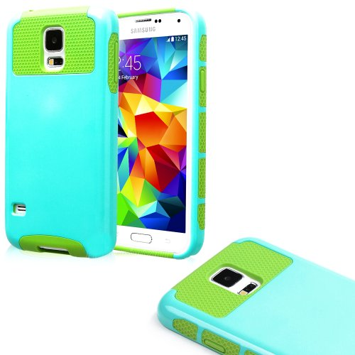 Mylife (Tm) Light Blue And Spring Green - Free Flex Series (2 Layer Neo Hybrid) Slim Armor Case For The New Galaxy S5 (5G) Smartphone By Samsung (External Rubberized Hard Shell Flex Piece + Internal Soft Silicone Flexible Bumper Gel)