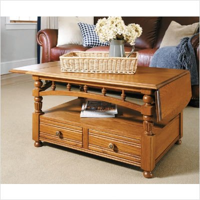 American Tapestry Cocktail Table with Drop-Leaf in Ginger Oak