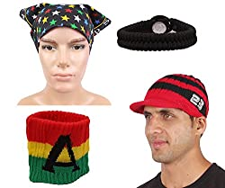 Sushito Trendy Multi Colour Woolen Cap With Fancy Headwrap & Wrist Band