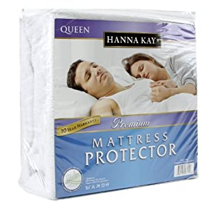 Hanna Kay Premium 100% Waterproof Mattress Protector ,Hypoallergenic - 10 Year Warranty Queens Size