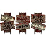 """Set of 3- Halloween Cemetery Sidewalk Signs- """"Beware Go Back"""", """"Keep Out! Condemned"""", Danger! Enter At Your Own Risk!""""-12"""" X 9"""""""
