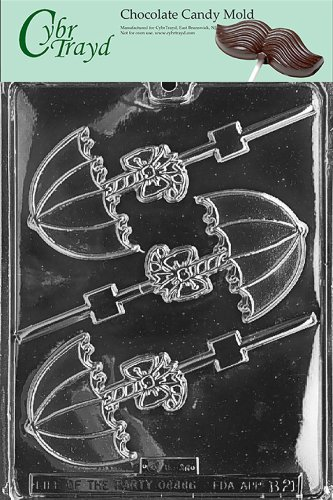 Cybrtrayd B021 Umbrella Lolly Chocolate Candy Mold With Exclusive Cybrtrayd Copyrighted Chocolate Molding Instructions front-980143