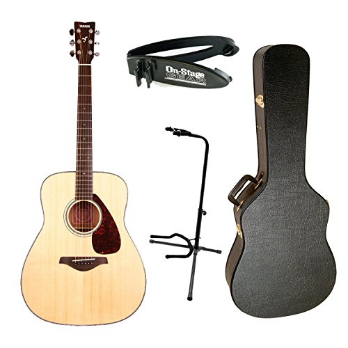Yamaha FG700S Solid Top Acoustic Guitar with Hardshell Case, Clip Guitar Breakaway Cable Clip & Guitar Stand