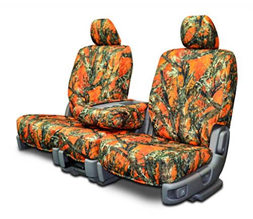 Custom Seat Covers for Ford F-150 Front 40-20-40 Seats - Orange Camo (2007 F150 Seat Covers Orange compare prices)