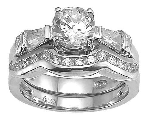 Genuine Cassis (TM) 925 Sterling Silver Rhodium Finish CZ Engagement Set Ring - Finger Size 9. 100% Satisfaction Guaranteed.