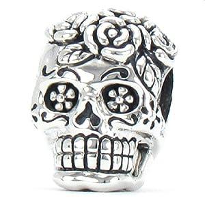 Bella Fascini Dia de los Muertos Bead Charm 925 Silver Sugar Skull Fits Pandora and Compatible Brands