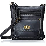 Kenox Pu Leather Multi-Pocket Zippered Crossbody Purse Bag