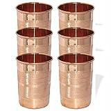 AsiaCraft Pure Copper Handmade Glass Tumbler, Set Of 6