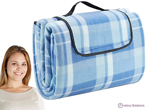 Extra Large Picnic & Outdoor Blanket with Waterproof Backing - Blue 60 x 80 inches