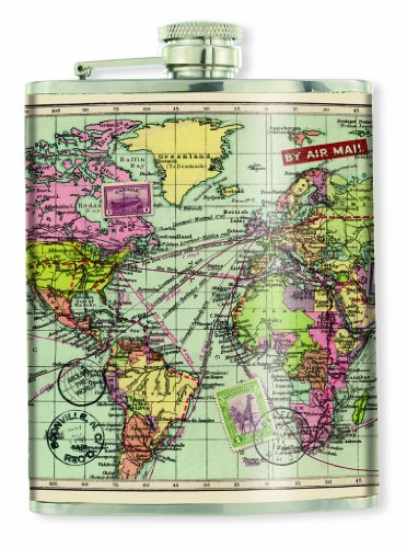 Wild and Wolf Map Hip Flask