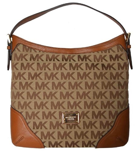 Michael Kors MK Signature Millbrook Large Shoulder Bag Handbag - Beige/ Luggage