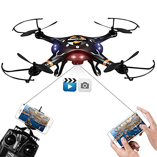DBPOWER FPV Drone with HD Wifi Camera Live Video, Altitude Hold and One Key Taking-off & Landing, Phone Controlled RC Quadcopter (Remote Controlled Quad Copter compare prices)